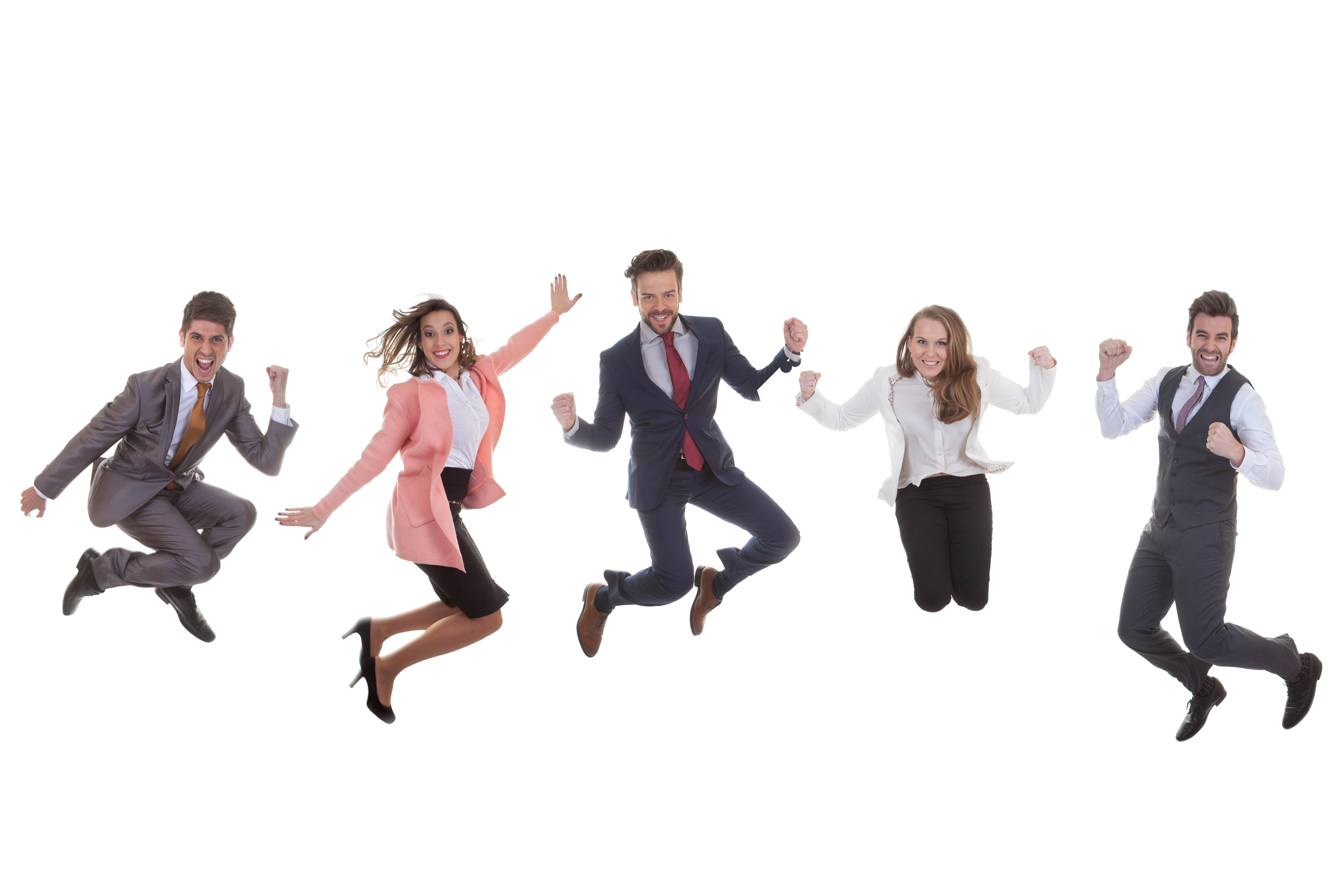 happy business team group jumping for success